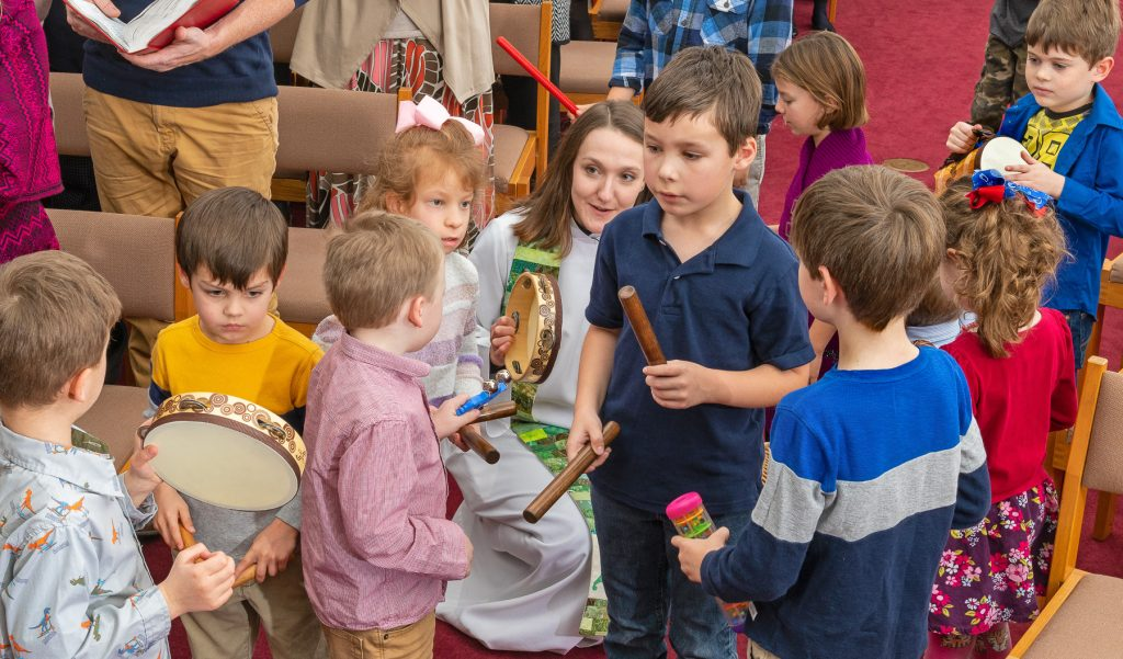 Sharing Christ's meal strengthens us to go out into the world to serve God and all people (Sending). Our final hymn is always lively and includes children accompanying the singing with percussion instruments.